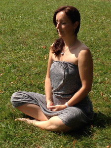 Meditating outdoors